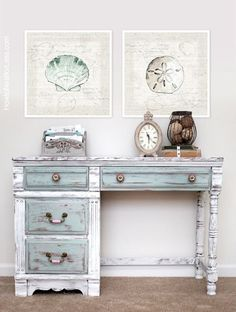 A lovely distressed desk painted in Pure White, Paris Grey & Duck Egg Blue Chalk Paint® decorative paint by Annie Sloan | By How To Nest For Less by michelle.mays.50
