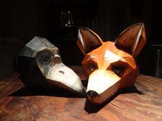 DIY Halloween masks fox mask bird mask Instant by GreenMindedWolf