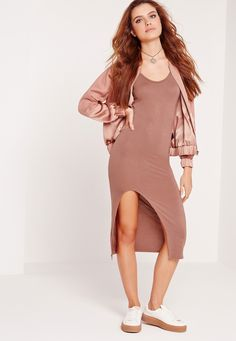 Missguided - Cut Out Thigh Midi Dress Nude