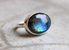 OOAK handmade sterling silver gemstone natural Labradorite ring