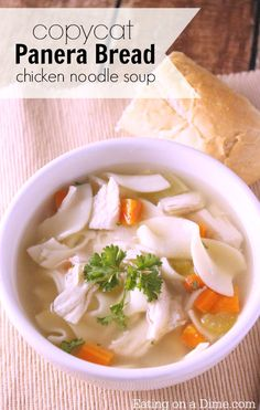 Make this copycat Panera Bread Chicken Noodle Soup Recipe. It is very frugal to make and taste just like the restaurant. We made a batch for my family of 6 for just $5!