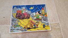 Moon Adventure Old Vintage Playskool Disney Wood Wooden Peg Puzzle Space…