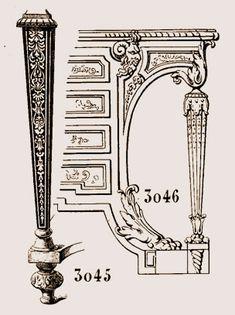 La figure 3045, montre un pied de support, époque de Louis XIV, couvert de marqueterie.  La figure 3046 exécutée d'après un croquis de Boulle est le pied d'un meuble d'appui, style Louis XIV.