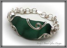 Bermuda Teal-ish Green Sea Glass Bracelet, $48.00