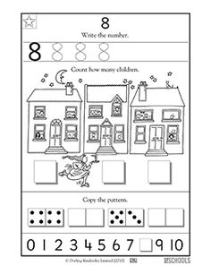 How many kids do you see? In this coloring math worksheet, your child will practice writing the number 8 and counting up to 8 items. Numbers Preschool, Preschool Math, Teaching Math, Maths, Kindergarten Worksheets, Kindergarten Classroom, Printable Preschool Worksheets, Writing Numbers, Writing Practice