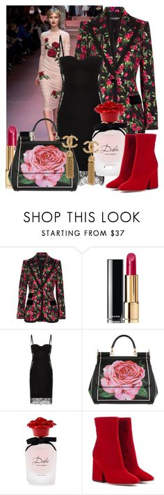 """""""La vie en rose"""" by jaudrey ❤ liked on Polyvore featuring Dolce&Gabbana, Chanel, La Perla and Maison Margiela"""