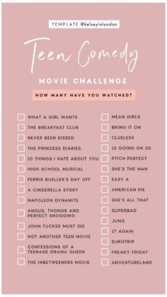 TEEN COMEDY- MOVIE CHALLENGE #good #movies #to #watch #for #teens Teen Comedy movies to watch during qurantine!