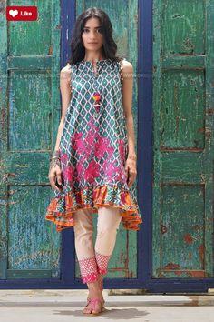 Khaadi Mid Summer 2017 - Original Online Shopping Store Whatsapp: 00923452355358 Website: www. Pakistani Dress Design, Pakistani Outfits, Indian Outfits, Stylish Dresses, Simple Dresses, Casual Dresses, Lovely Dresses, Casual Wear, Indian Fashion