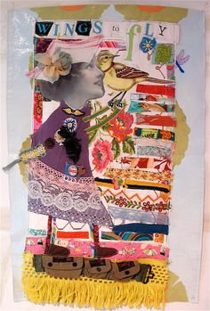 WINGS To Fly Fabric Collage ART Quilt Large Assemblage by mybonny