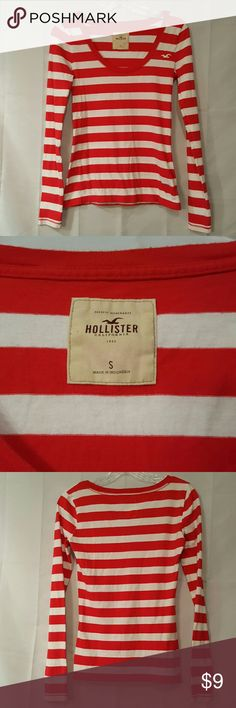 HOLLISTER RED/WHITE STRIPED LONG SLEEVE TOP HOLLISTER RED/WHITE STRIPED LONG SLEEVE TOP SIZE S HOLLISTER  Tops