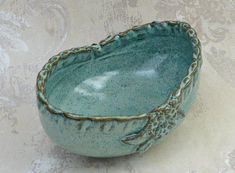 Decorative Oval Serving Bowl in Speckled Aqua with Botanical