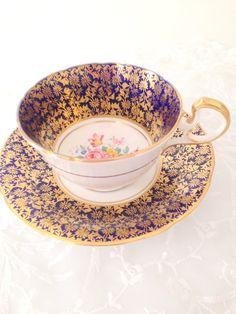 Aynsley Vintage anglais Fine porcelaine bleu de Cobalt et or tasse à thé et…