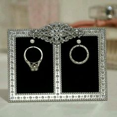 Take advantage of this weekend's special promotion on this double ring holder frame! Ring Holder Frame, Jewelry Frames, Expensive Rings, Engagement Ring Photos, Ring Pillow Wedding, Bride Makeup, Vintage Jewelry, Unique Jewelry, Wedding Accessories