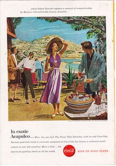 Robert Fawcett illustration for exotic Acapulco, this is a good source for vintage ads and vintage illustrations #paper ephemera #vintage ads #vintage illustrations #mexico