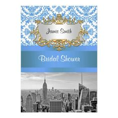 NYC Skyline BW D4 Damask Bridal Shower Invite V