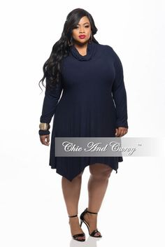 ac8f29fd0c3 50% Off Sale - Final Sale Plus Size Dress with Cowl Neck and Long Sleeves  in Blue
