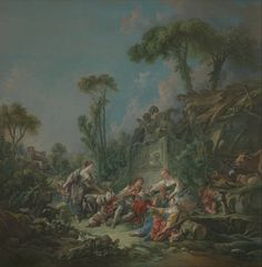 François Boucher (1703–1770) Shepherd's Idyll, oil on canvas 94 1/2 x 93 1/2 in. (240 x 237.5 cm) Gift of Julia A. Berwind, 1953 Accession Number:53.225.1 Met