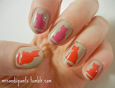 Welcome to YUMMY NAILS nail art images all at your fingertips! Featuring amateur & professional nail art from all over the world Fancy Nails, Love Nails, How To Do Nails, Pretty Nails, Cat Nail Art, Cat Nails, Nail Manicure, Nail Polish, Cat Nail Designs