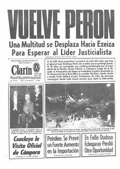 Portada del diario Clarín del 20 de junio de 1973, vuelve Perón
