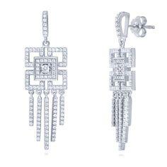 Berricle Sterling Silver Cz Art Deco Statement Dangle Drop Earrings
