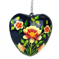 Papier Mache Heart Ornament - 3 inch - Blue - CFM (H)