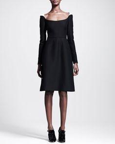 Scoop-Neck Contrast-Shoulder Dress by Valentino