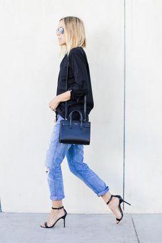 Destroyed Boyfriend Jeans {$90} // ATM Poplin Dress Shirt {$160, similar one here} // Saint Laurent Baby Sac du Jour {$2150, similar one here} // Manolo Blahnik Chaos Heels