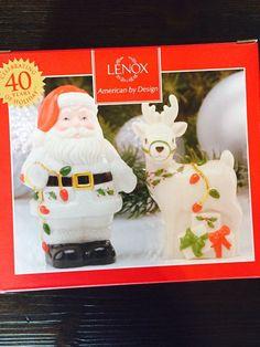 Lenox Holiday Christmas Santa and Reindeer Salt and Pepper Set NIB