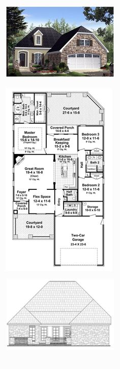 COOL house plans offers a unique variety of professionally designed home plans with floor plans by accredited home designers. Styles include country house plans, colonial, Victorian, European, and ranch. Blueprints for small to luxury home styles. Country Style House Plans, French Country Style, Master Bedroom Plans, Courtyard House Plans, Best House Plans, Car Garage, Home Design, Living Area, Architecture Design