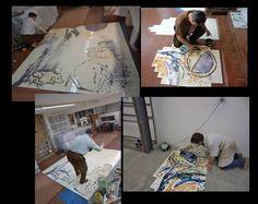 Algumas imagens da execuçãode um painel de azulejos da autoria de Alberto Péssimo, encomenda para uma residência particular no Porto em 2012