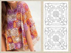 Crochet Poncho, Crochet Hats, Granny Pattern, Needle Tatting, Irish Lace, Crochet Squares, Summer Tops, Crochet Flowers, Crochet Patterns
