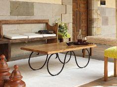 Mesa de centro. Forja y madera. www.fustaiferro.com