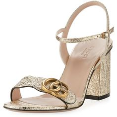 Gucci Marmont Metallic City Sandal ($695) ❤ liked on Polyvore featuring shoes, sandals, gold, ankle strap shoes, strappy block heel sandals, ankle strap sandals, thin strap sandals and gucci shoes