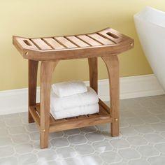 Teak Rectangular Shower Stool With Handles