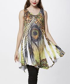 5a3c7dac144 Look at this Simply Couture Yellow Peacock Sublimation Sleeveless  Handkerchief Tunic on  zulily today!