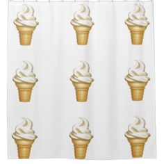 hipster shower curtain soft serve ice cream retro - home gifts ideas decor special unique custom individual customized individualized
