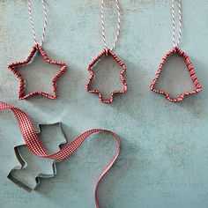 When the baking is done, turn your Christmas cookie cutters into easy ornaments with a seasonal ribbon: http://www.bhg.com/christmas/ornaments/christmas-tree-ornaments/?socsrc=bhgpin092714cookiecutterornaments&page=2