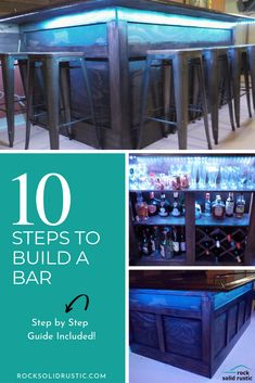 Home Bar DIY - Step by Step Guide - rock solid rustic Woodworking Skills, Woodworking Ideas, Build Your Own Bar, Building A Home Bar, Rustic Wood Decor, Built In Bar, Bar Plans, Diy Step By Step, Man Cave Bar