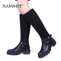 3bb191b6879 XAMMEP Kvinnors Vinterskor Knee Hög Stövlar Stor Storlek Högkvalitativ Cow  Suede Läder Märke Kvinnors Skor Ull