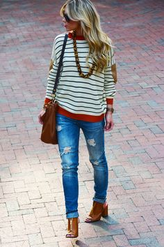 When The Days Are Cold We've had some chilly nights recently which promoted the opportunity to throw on this striped knit. My favorite outfits of all always involve oversized tops with distressed denim and simple boot or heel…but you already knew that.
