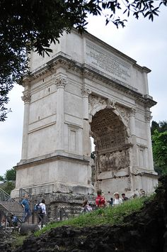 Arch of Titus. Coordinates: 41.890717°N 12.488585°E The Arch of Titus is a 1st-century honorific arch[1] located on the Via Sacra, Rome, just to the south-east of the Roman Forum. It was constructed in c. 82 AD by the Roman Emperor Domitian shortly after the death of his older brother Titus to commemorate Titus' victories, including the Siege of Jerusalem in 70 AD.