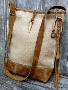 Beige Hair on Cowhide and Distressed Leather Bucket Bag by Stacy Leigh 57410733e2853