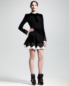 Alexander McQueen Pre-Fall 2013 Pleated-Trim Cutout Dress