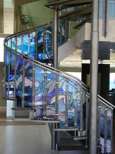 "TWO STORY STAIRCASE - By Brian McNally Glass Artist, California, USA - Size: 8""w x 40""h Each - via Trade Only Design Library"