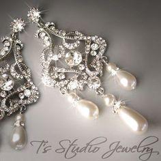 Pearl Chandelier Bridal Earrings Long Dangling Crystal Rhinestone Romantic Silver Wedding Jewelry - DENISE Earings. $68.00, via Etsy.