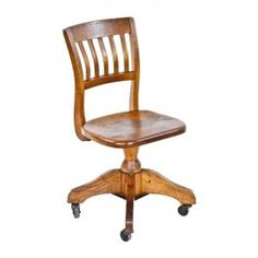 Delicieux Original And Intact C. Vintage Industrial Varnished Oak Wood Brand Brewery  Revolving Typist Chair With Casters