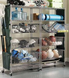 Keep the entire family's sports gear and balls, camping supplies, and more organized and at-the-ready in shelves and baskets.