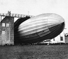 Maiden voyage. Graf Zeppelin L.Z. 127 leaving the hangar at Friedrichshafen, Sept. 18, 1928.