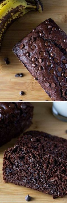 The BEST! So moist, full of banana flavor and loaded with chocolate. So delicious and it only takes 10 minutes to make! Just Desserts, Dessert Recipes, Desserts With Bananas, Baking With Bananas, Recipes With Bananas, Healthy Desserts, Keto Postres, Rodjendanske Torte, Melting Chocolate Chips