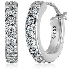Plated Sterling Silver and Swarovski Zirconia Hoop Earrings (3/4 cttw) ** Visit the image link more details.